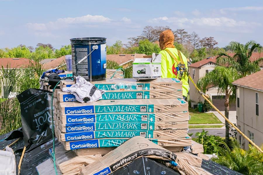 pile of landmark certified roof materials